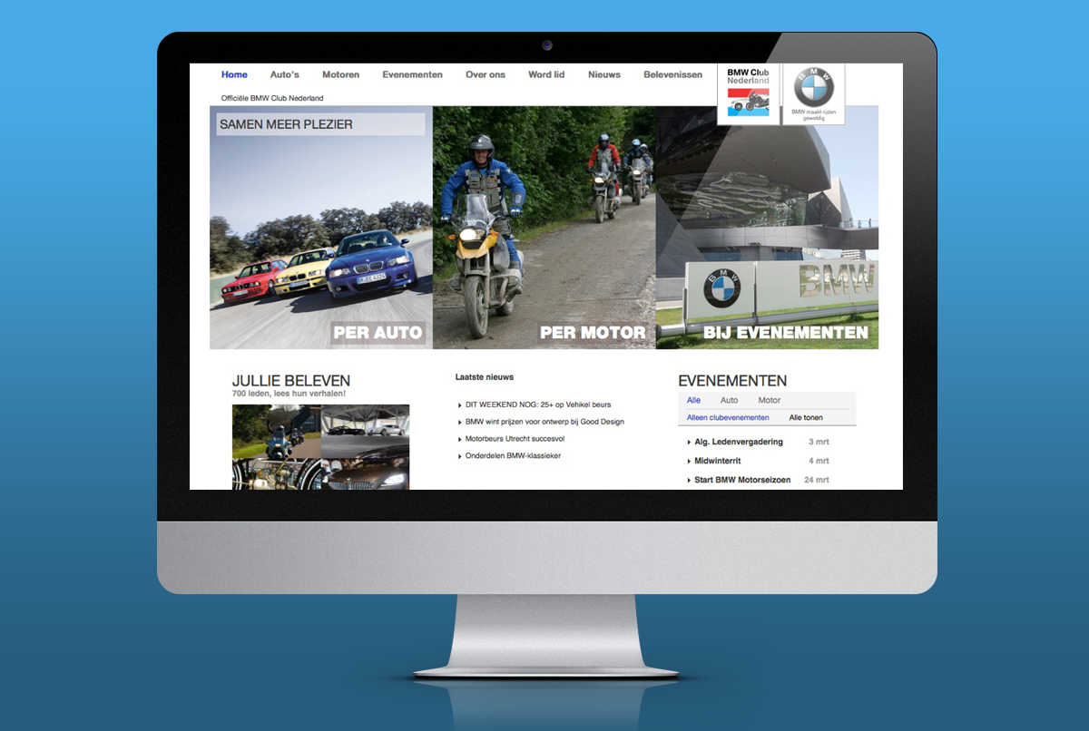 site ontwerp BMW club nederland